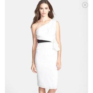 NWT One shoulder Ruffled Jacquard Vera Wang Dress
